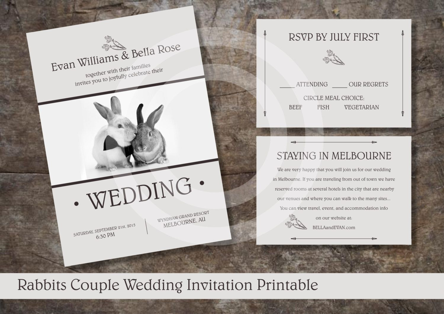 RABBITS COUPLE WEDDING Invitation Printable / Retro Style Wedding Invitation / Rsvp and Info Card Included by OstrichSistersDigits on Etsy
