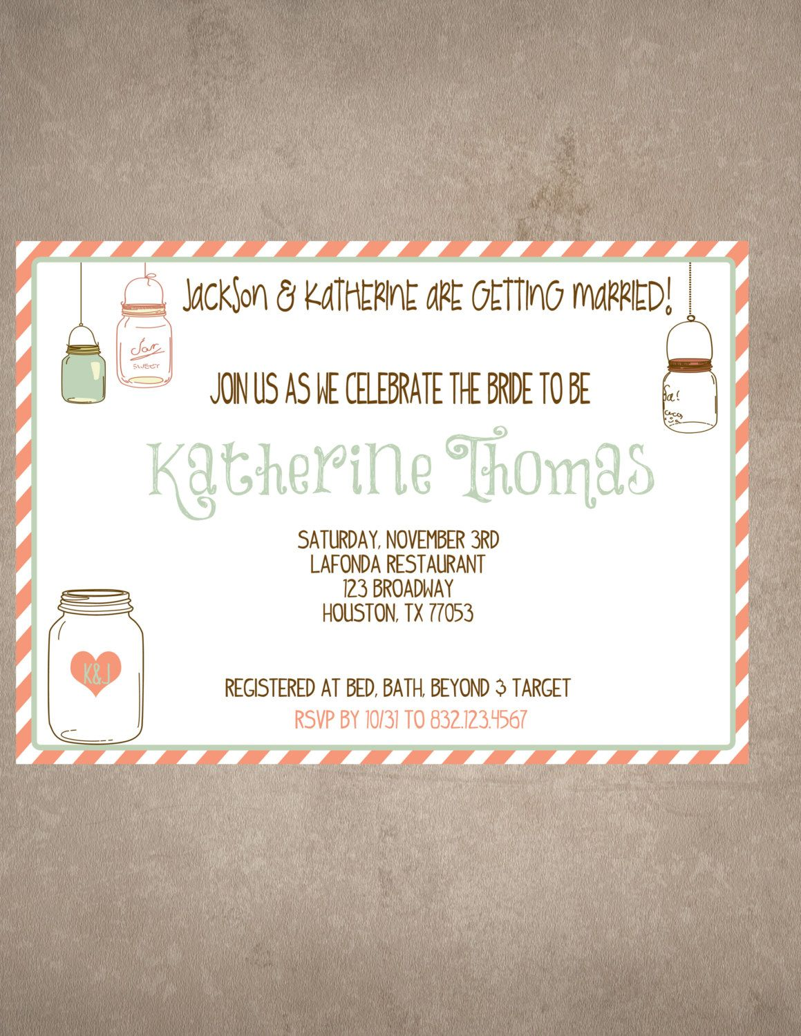 Mason Jar bridal shower/baby shower invite and thank you note-Print ...