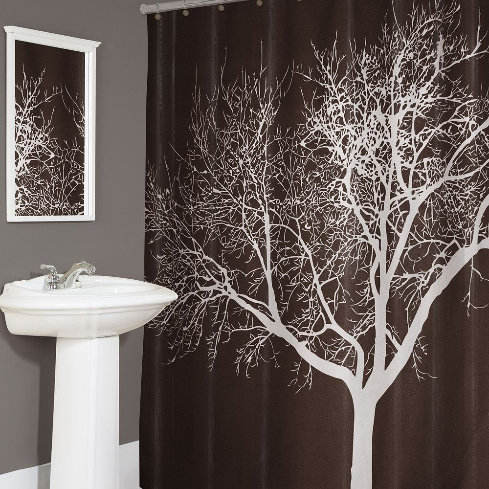 Brown And White Tree Shower Curtain   Shower Curtain   Pinterest ...