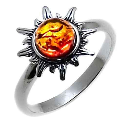 Honey Amber and Sterling Silver Flami...