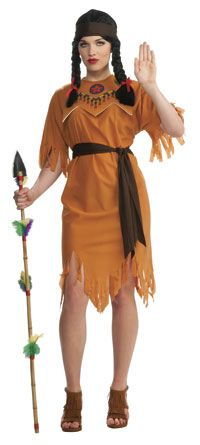 Ladies Western Indian Pocahontas Wig Book Week Day Fancy Dress Accessory