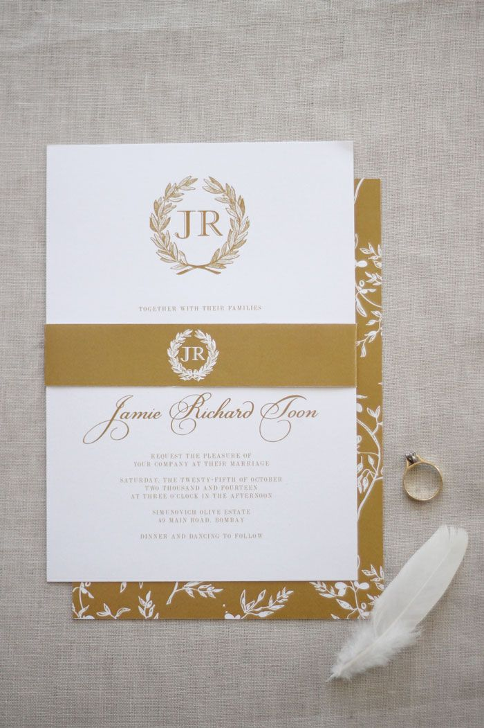 Wedding invitation wedding stationery design nz elegant white wedding invitation wedding stationery design nz elegant white gold wedding olive grove wreath monogram by just my type stopboris Gallery