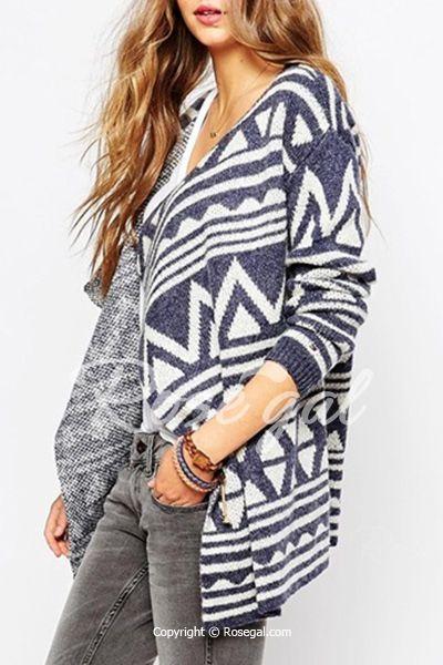 42b19af40 Fashionable Turn-Down Collar Geometric Pattern Long Sleeve Cardigan ...
