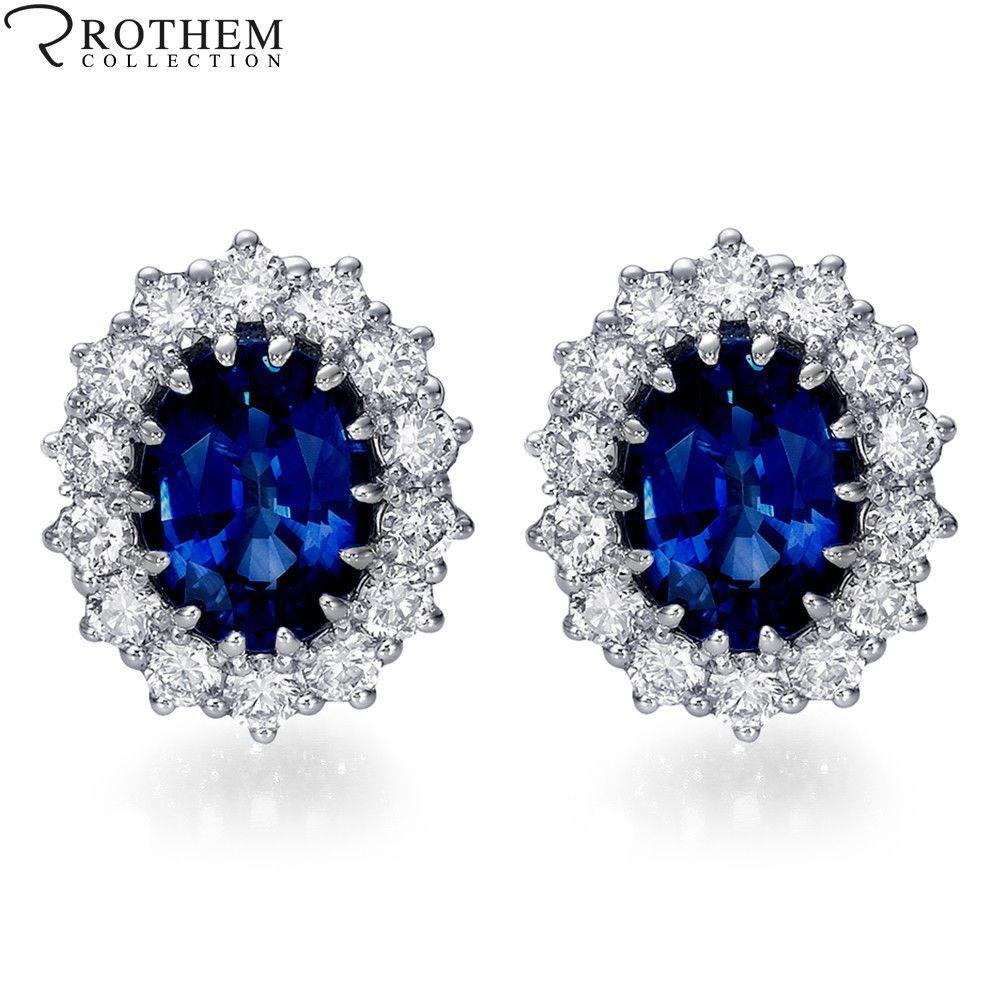 3 75 Carat Diana Royal Blue Sapphire Diamond Earrings 14k White Gold 48846074 Ebay L Sapphire And Diamond Earrings Blue Sapphire Jewelry Blue Sapphire Diamond