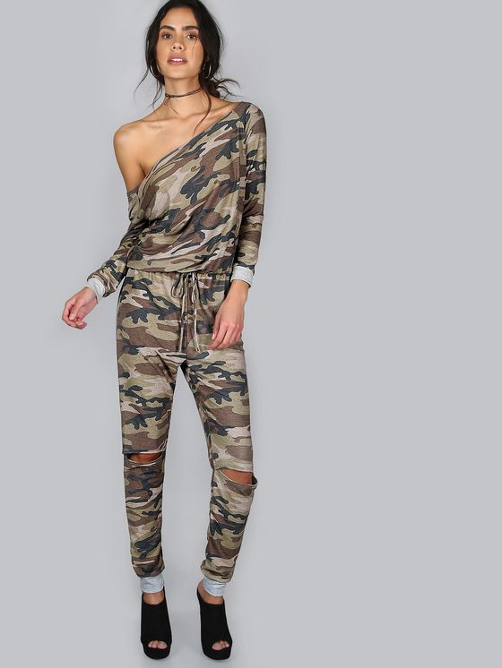 8ce7c2323fe1e Online shopping for Boat Neck Camouflage Jumpsuit CAMOUFLAGE from a great  selection of women's fashion clothing & more at MakeMeChic.COM.