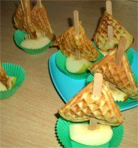 apples with waffle sails