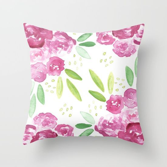 Burgundy Floral Throw Pillows : Burgundy + Pink Peonies Bouquet Throw Pillow Peonies bouquet and Peony
