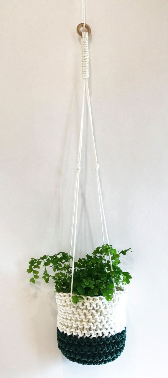 Modern Plant Hanger Simple Macrame Plant by knitknotsupplyco #planthanger #verticalplanthanger #knittedplantholder #indoorplantdecor #knittedmacrame #plantdecor #plantcover
