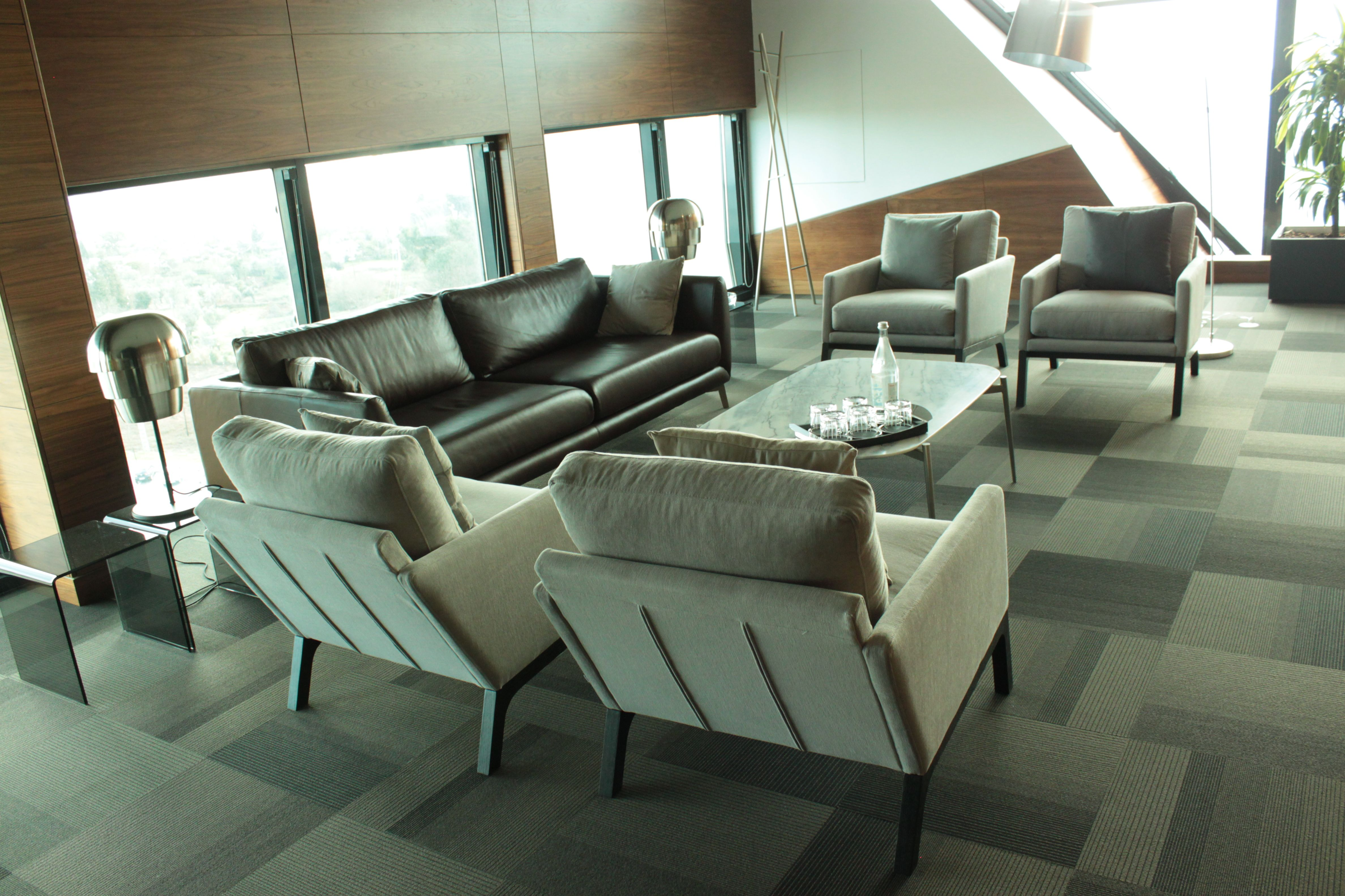 BoConcept Fargo sofa Murcia marble coffee table and Monte chairs