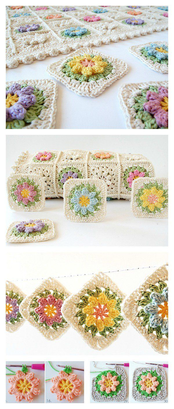Crochet Primavera Flowers Granny Square Free Pattern and Tutorial en ...
