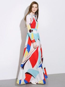 Shop Color Block Button Detail Roll-up Sleeve Maxi Shirt Dress from choies.com .Free shipping Worldwide.$89.09