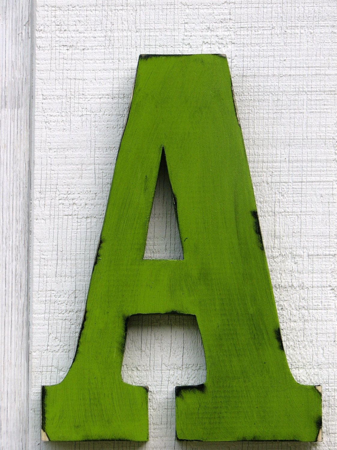 rustic wooden letter a distressed painted citrus green 12 tall wood name letters custom