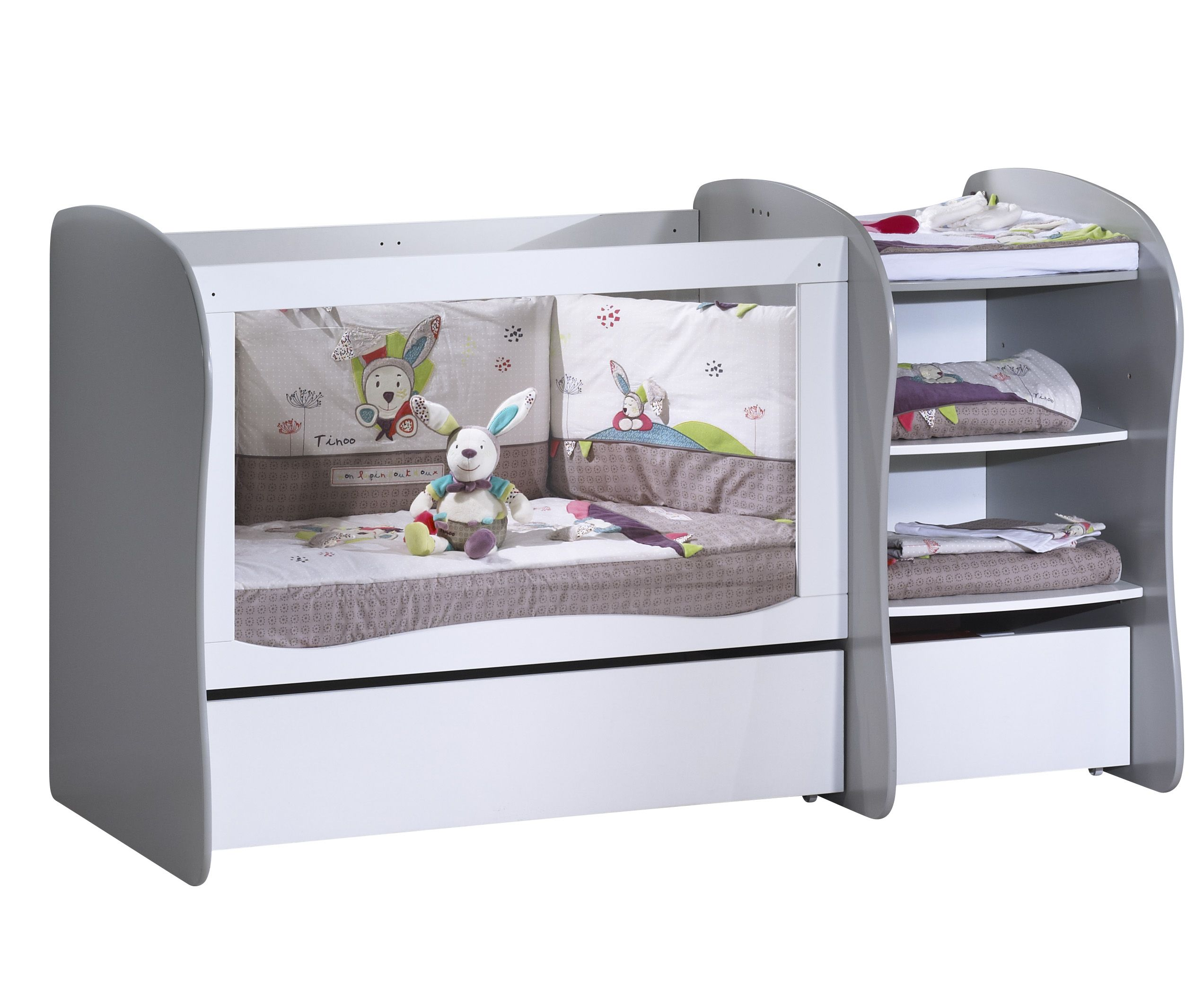 Lit Chambre Transformable 120x60 Avec Galerie Fixe Dispositif A Langer Inclus Toddler Bed Baby Doll Nursery Bed