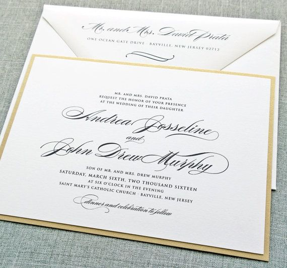 Andrea Script Metallic Gold Layered Wedding Invitation Sample
