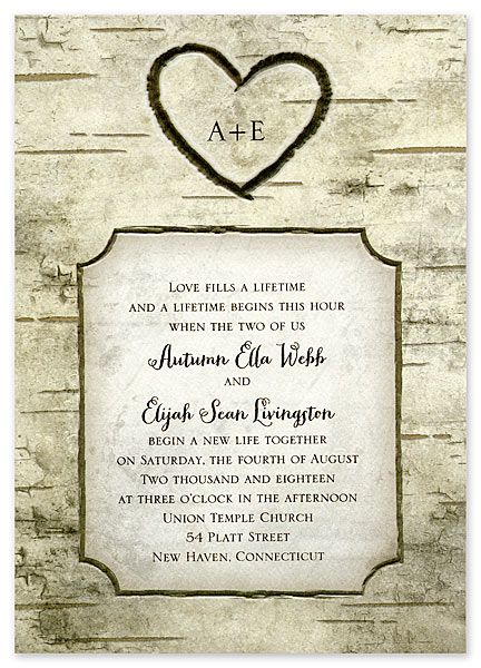 This Wedding Invitation Features Your Initials Set Inside A Heart Carving On Birch Tree