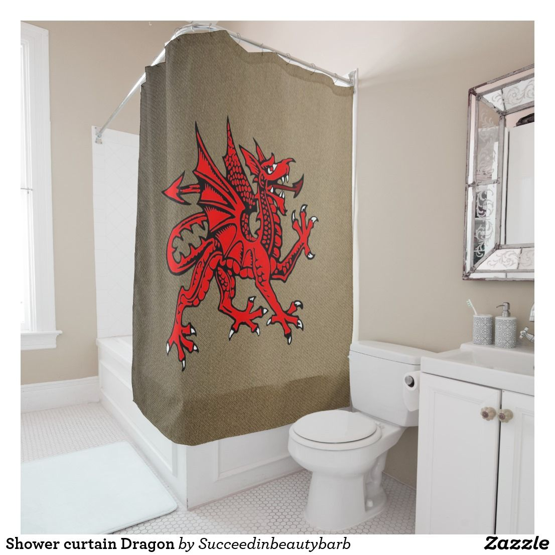 Shower Curtain Dragon Zazzle Com In 2019 Red Dragon Curtains