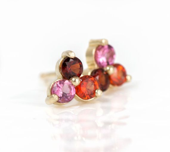 Trio Stud Earrings with Red Garnet, Orange Sapphire, and Pink Tourmaline.  14k Yellow Gold Studs, Gemstone Cluster Studs, Posts