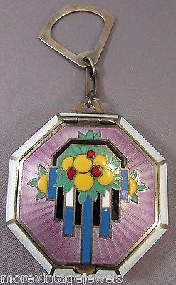 1920-Art-Deco-Sterling-Foster-Bailey-Guilloche-Enamel-Compact-Vibrant-Rare-60g