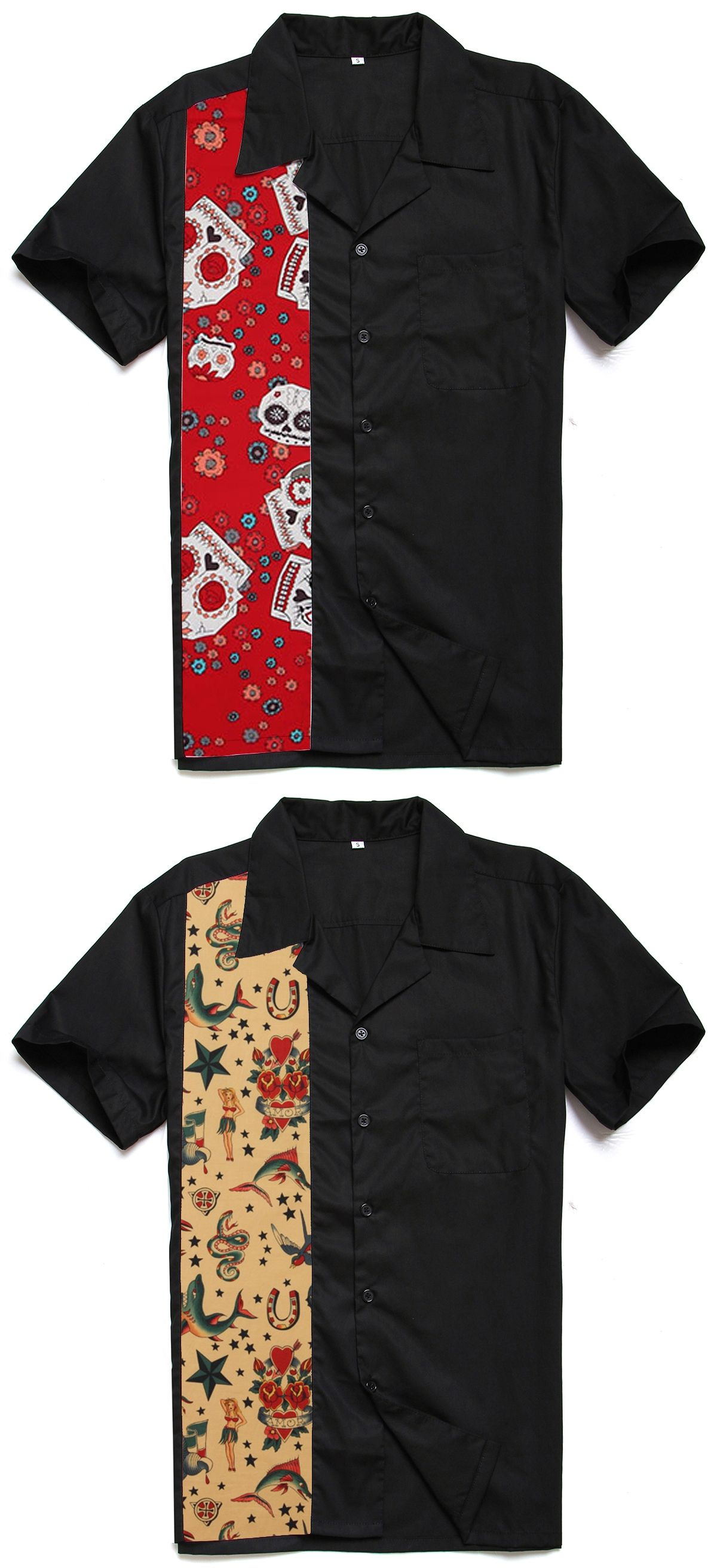 Fashion Casual Novelty Printing Tattoo Male Top Short Sleeves Rockabilly  Hiphop Vintage 40s 50s American Club b71812550fed