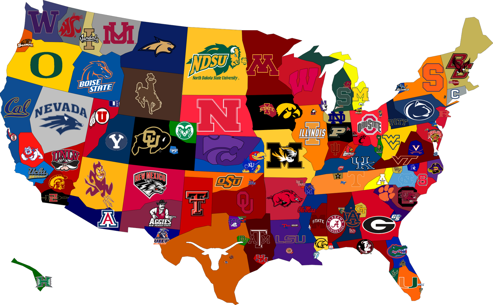 The United States Of College Football This Would Be So Cool In Coehn S Room College Football Map College Football Fans College Football Teams