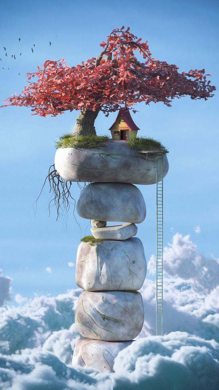 Скачать 720x1280 дом, небо, облака, 3d, арт обои, картинки ...