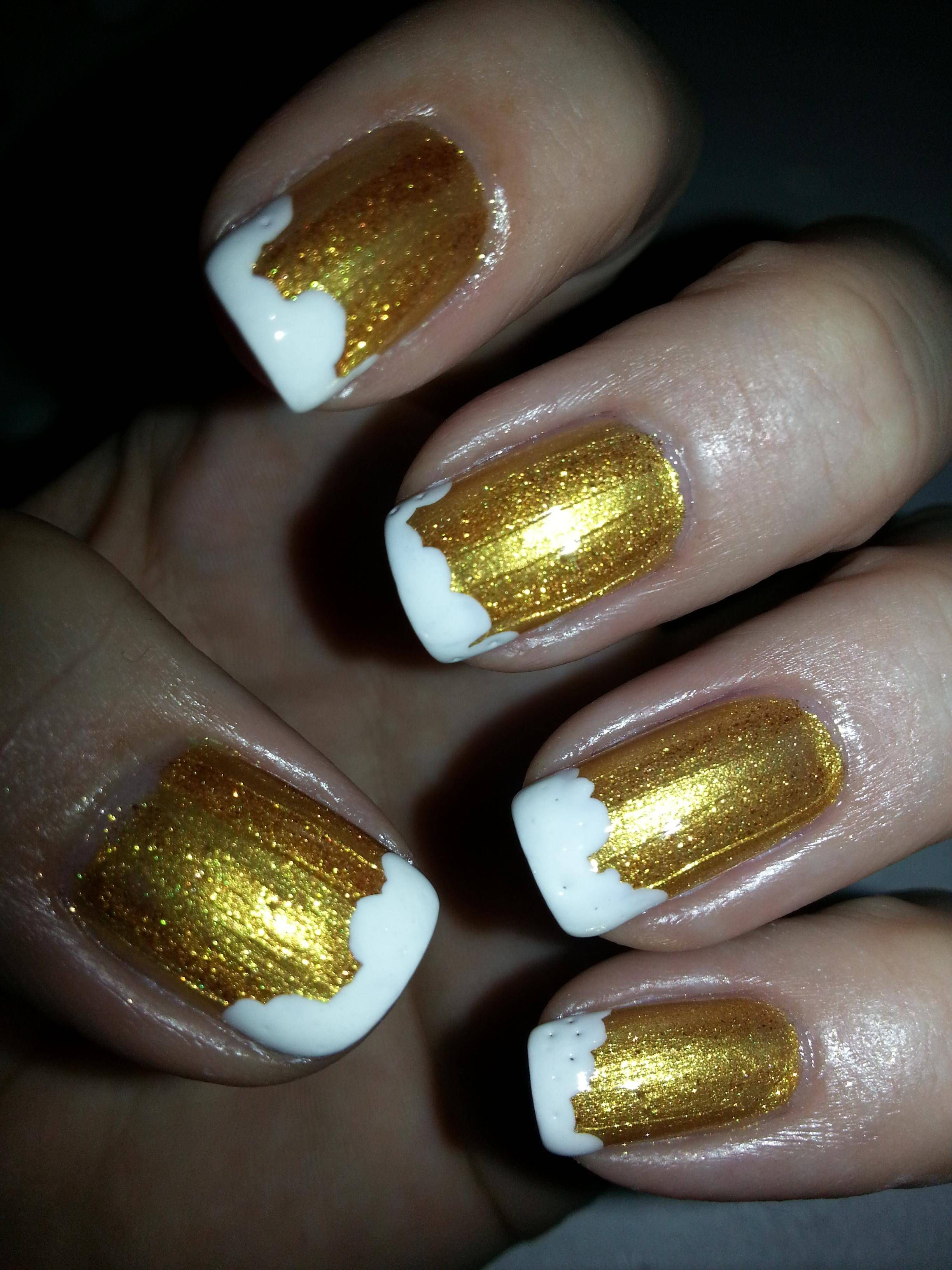 Brewery nails: Kleancolor Metallic Yellow, white | Favorite nails ...
