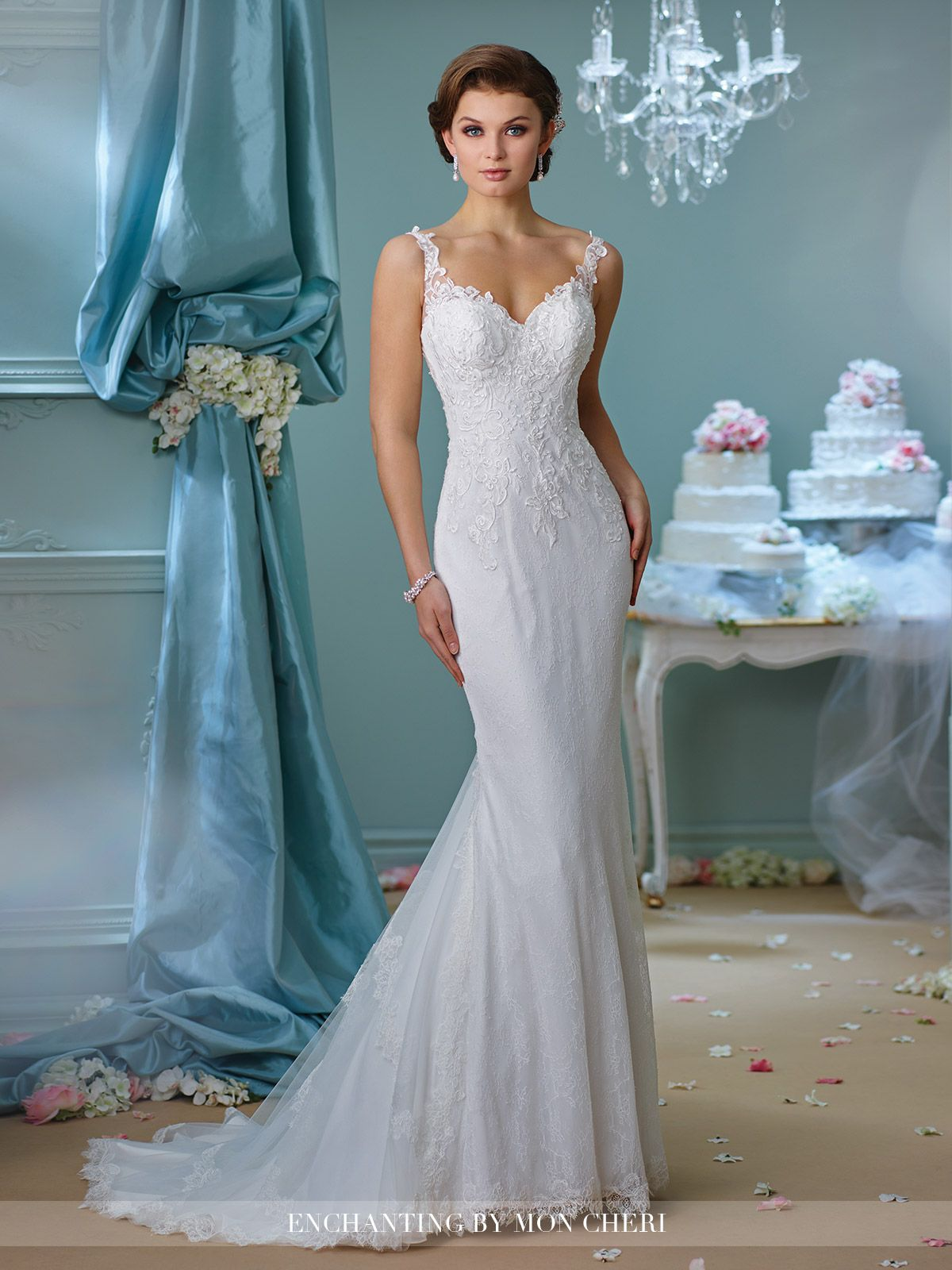 Fit and flare lace wedding dress  Fit and Flare Lace Wedding Dress  Enchanting by Mon Cheri