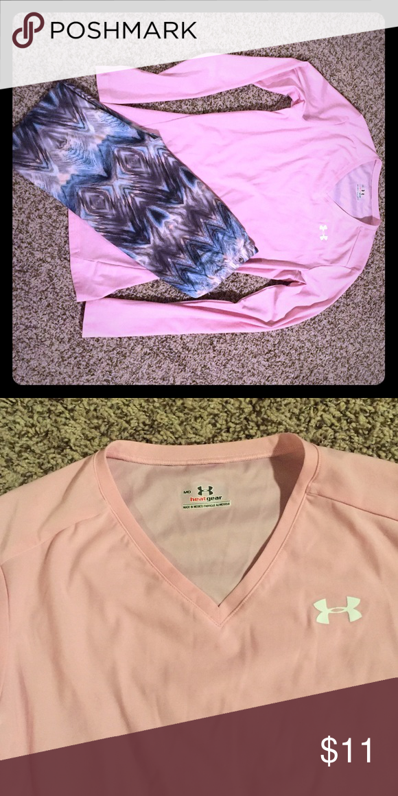 Under Armour Shirt & Leggings Baby pink Under Armour long sleeved shirt. Size Medium but fits small. I'll throw the super soft leggings (off brand) in there for free. 😍 Under Armour Tops Tees - Long Sleeve