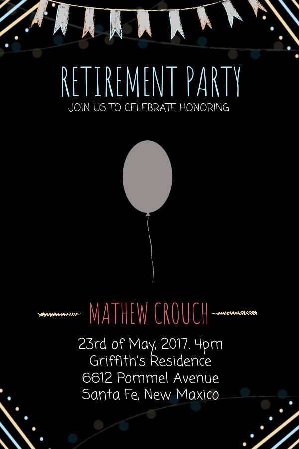 Retirement Party Poster Template  Black Click To Customize