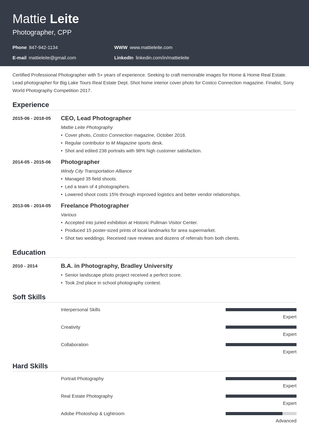 photographer resume example template influx in 2020 Job