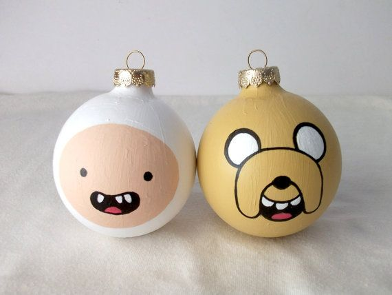 Adventure Time Finn and Jake Hand Painted Ornament Set of 2 from Ginger Pots on Etsy