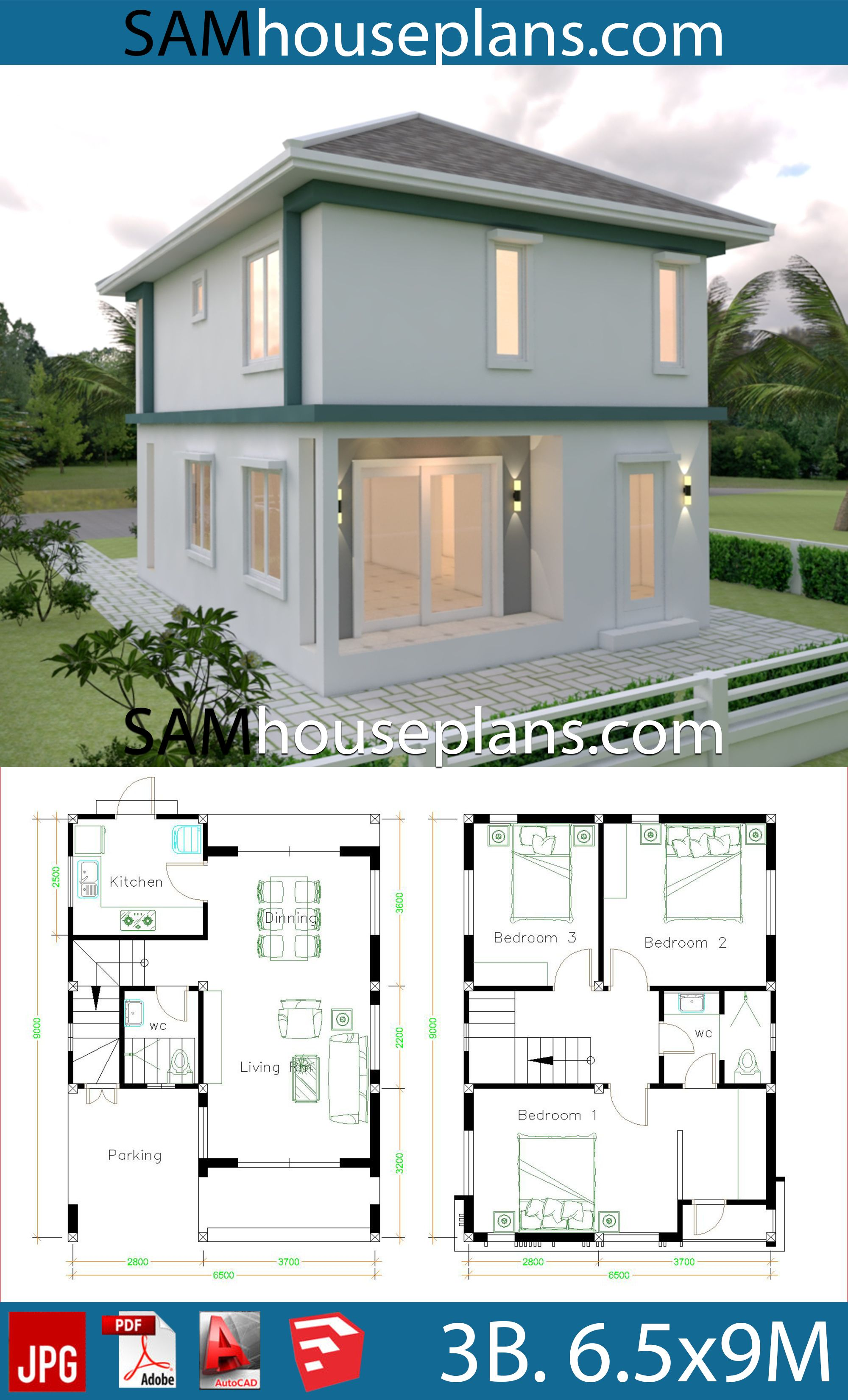 House Plans 6 5x9 With 3 Bedrooms House Plans Free Downloads House Plans Bungalow House Design Bedroom House Plans