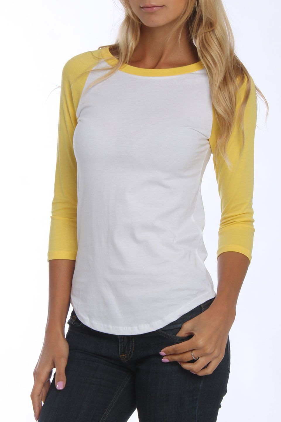 208d90c4ec38 US Blanks Raglan Baseball Tee in White and Bright Yellow - Beyond the Rack