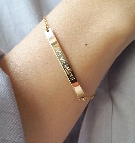 Roman Numeral Bracelet Gold Bar Personalized Nameplate Save The Date Custom Engraved
