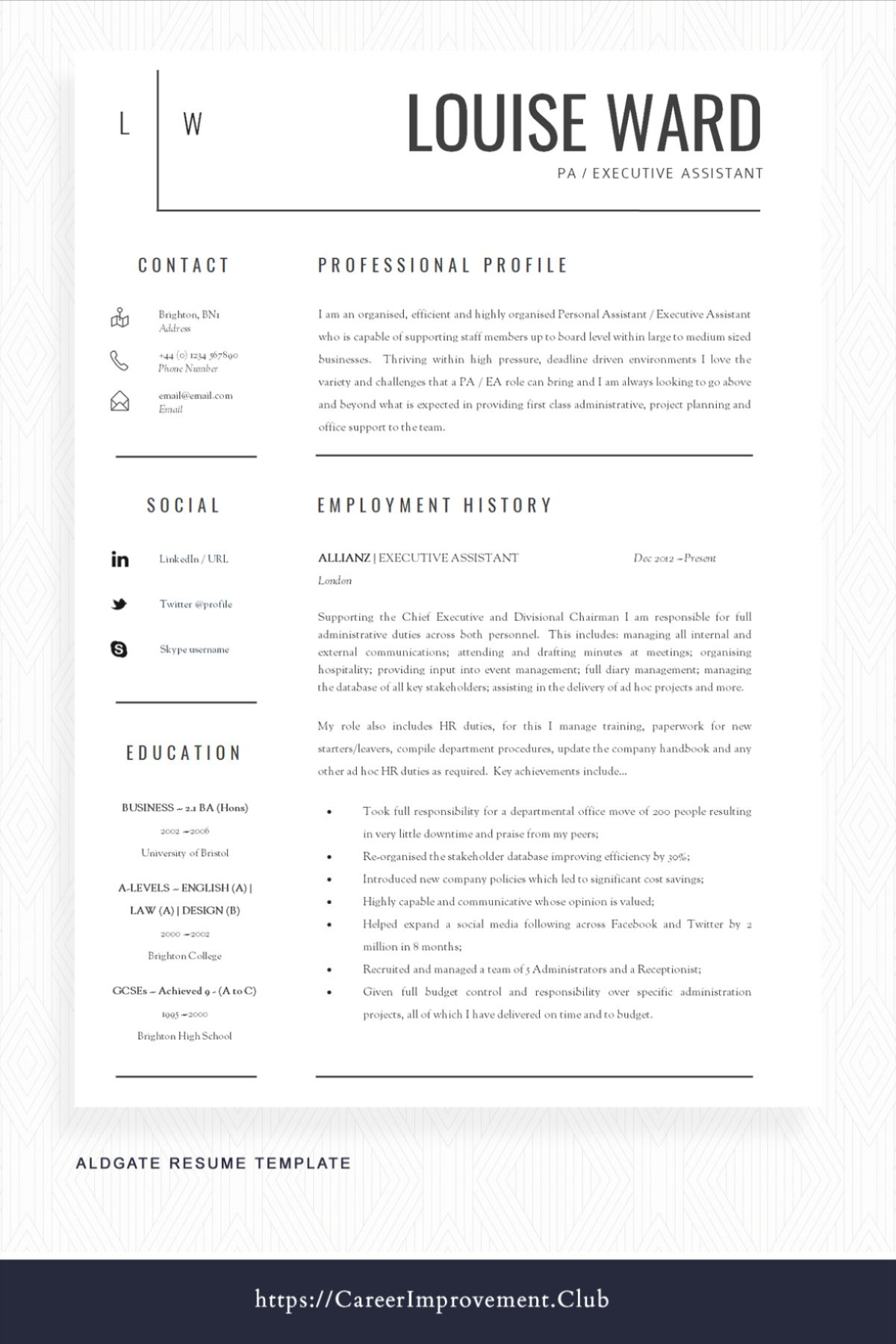 CV Template + Cover Letter + Resume