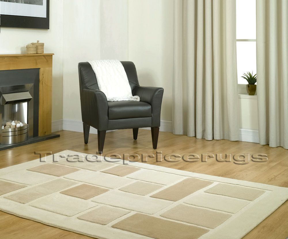 40a2910772f LARGE SOFT THICK CREAM BEIGE BROWN SQUARES RUG 120x170