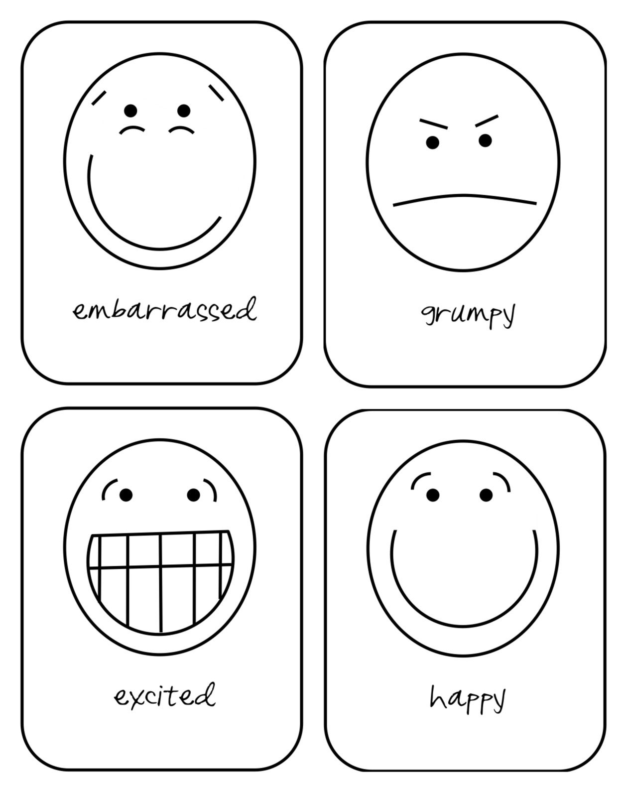 Free printable emotion flash cards for your toddler