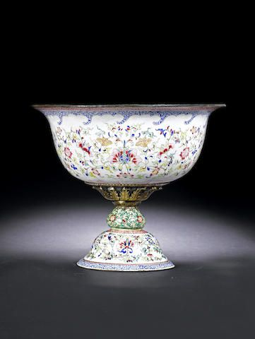 Chinese Footed Bowl Late C18th Enamel On Copper Chinoiserie Decorating Beautiful Bowls Bowl