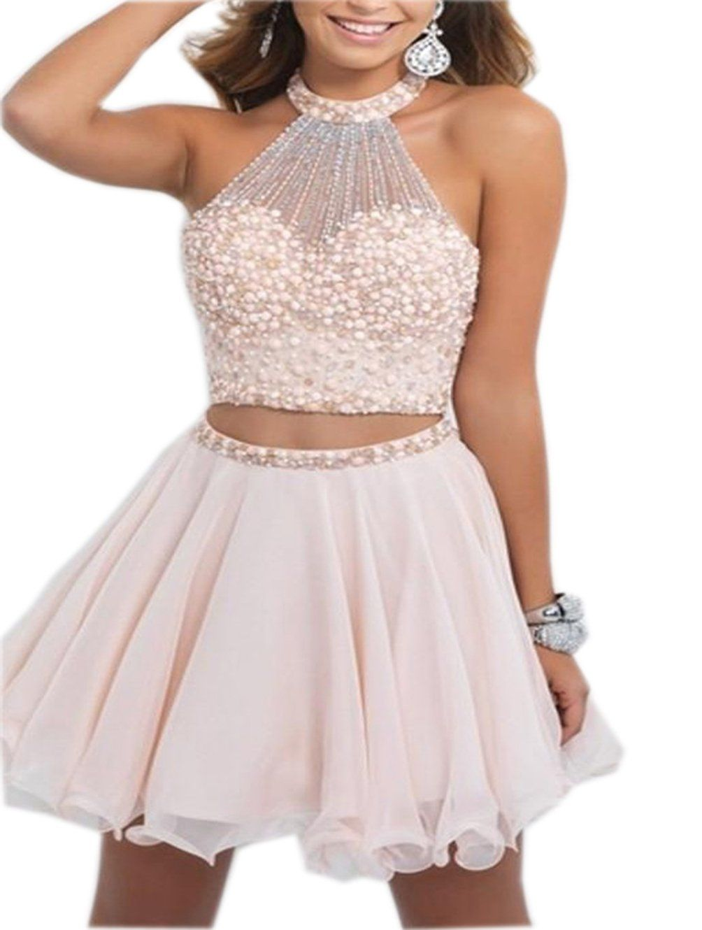 ALW Two Pieces Short Homecoming Dress with Beads Prom Gown ALW142PK-US2