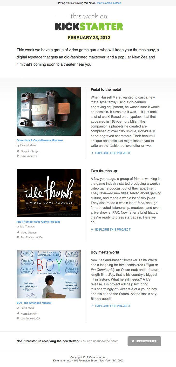 Kickstarter's 'Projects We Love' weekly newsletter | Newsletter ...