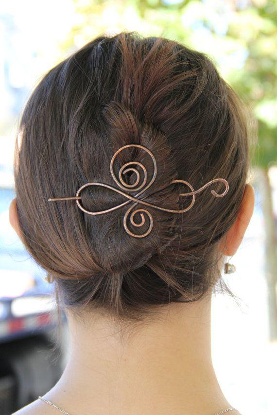 Circle hair pin minimalist bun holder hammered brass hair