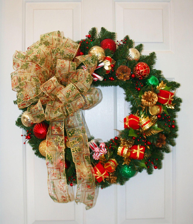 Traditional Pine Christmas Wreath Artificial By Shadesoftheseasons, $5500