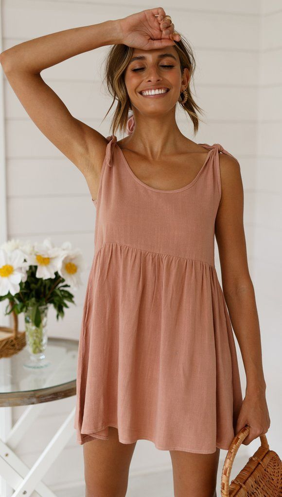 Photo of Dusty Pink Shoulder-Tie Shift Dress #sewingsummerdresses Dusty Pink Shoulder-Tie…