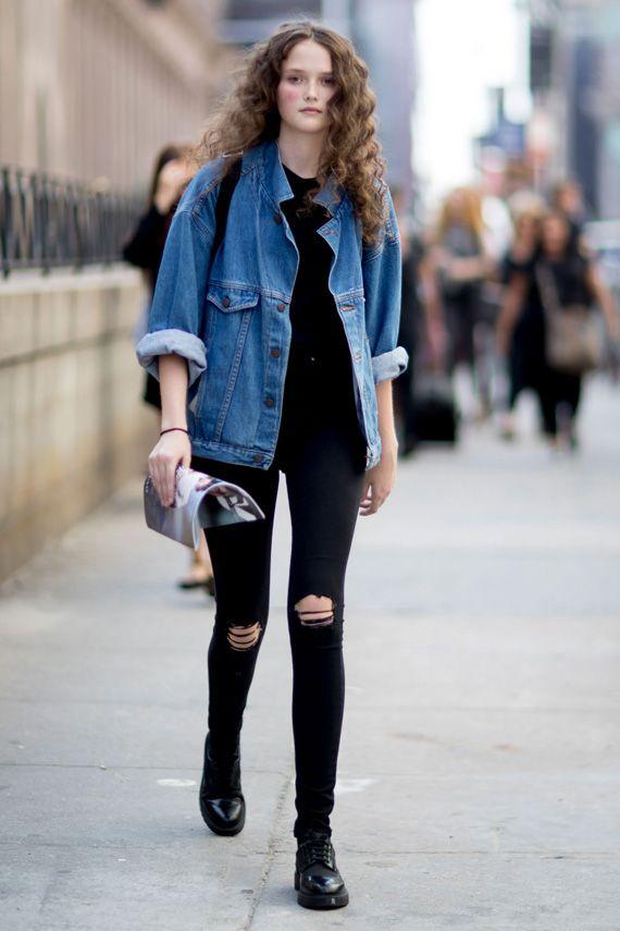 Black denim jacket pinterest