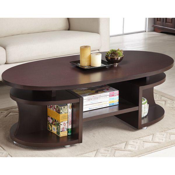 Furniture of America Modern Elliptical Multi-Shelf Walnut Coffee ...