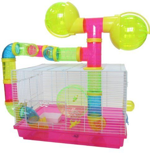 Yml Dwarf Hamster Mice Cage With Color Tubes And Accessories Pink By Yml You Can Get More Details By Clicking On The Image Mouse Cage Hamster Dwarf Hamster