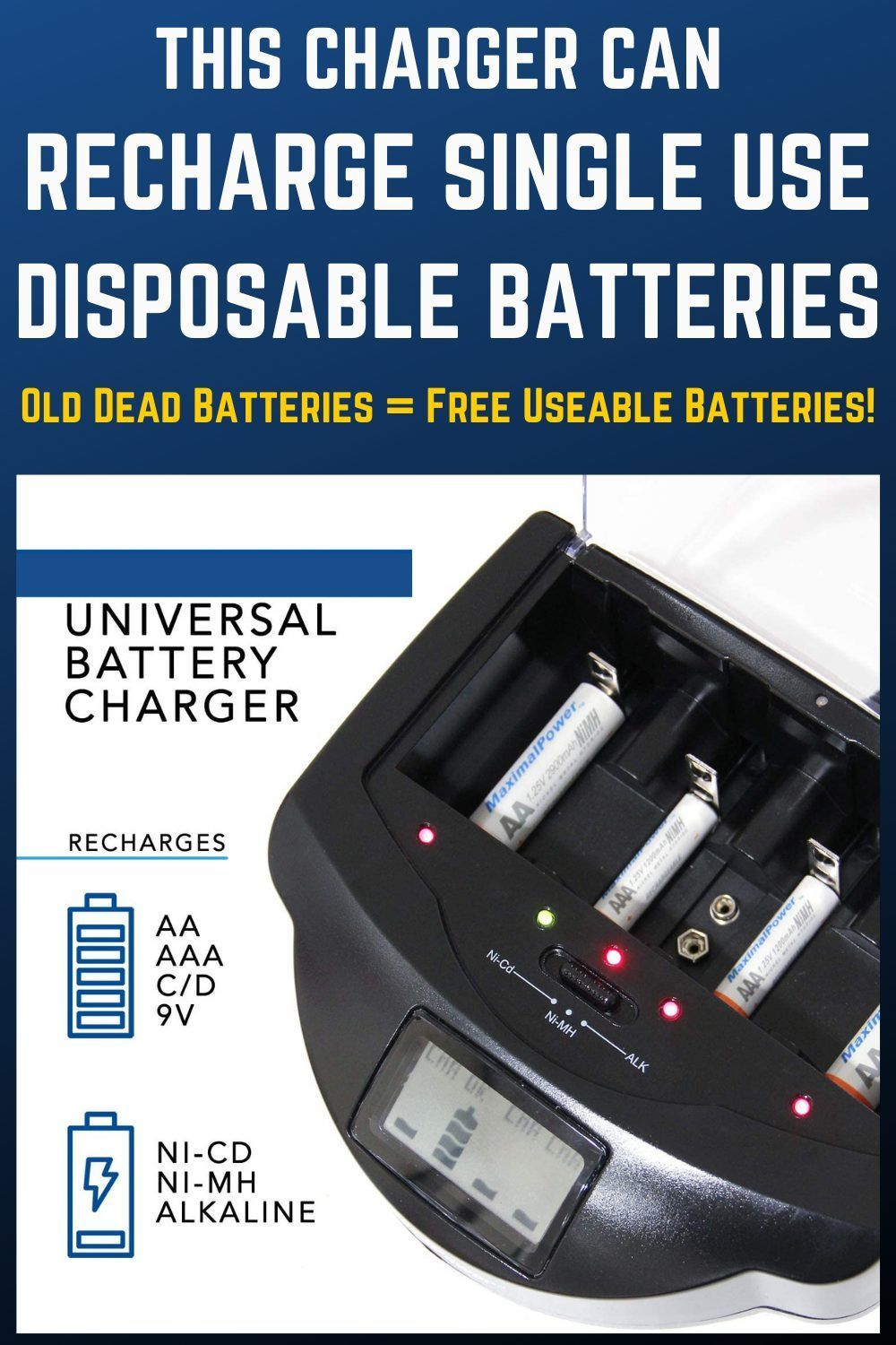 This Charger Can Recharge Disposable Batteries Learn More Save Money In 2021 Gadgets And Gizmos Disposable Recharge