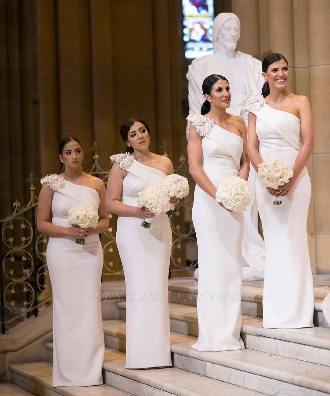 Elegant One Shoulder Sheath White Long Bridesmaid Dresses White Bridesmaid Dresses Long Bridesmaid Bridesmaid Dresses