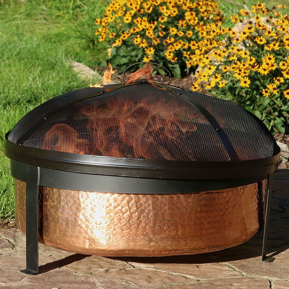 30 Inch Hammered Copper Fire Pit Bonfire Bowl Includes Accessories Yard Patio Sunnydazedecor Fire Pit Backyard Rustic Fire Pits Copper Fire Pit