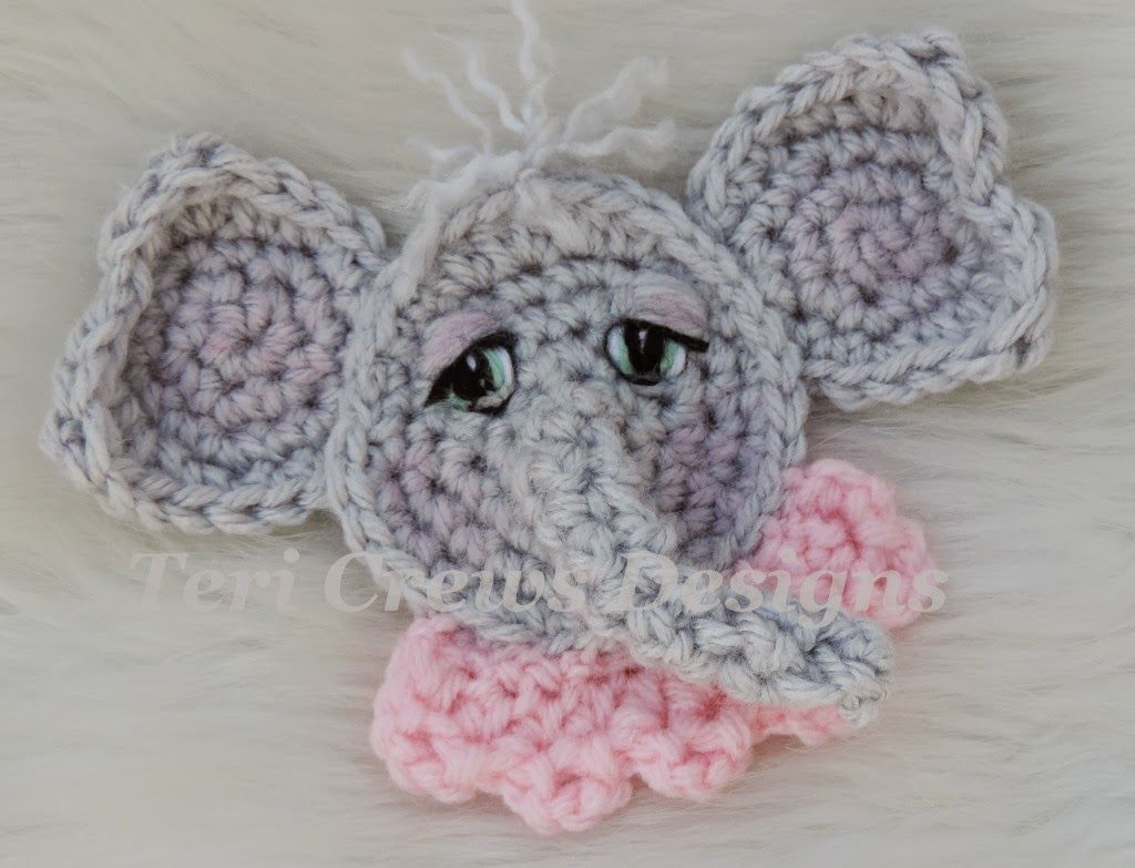 Teri Crews Designs | Crochet | Pinterest | Elephant applique ...